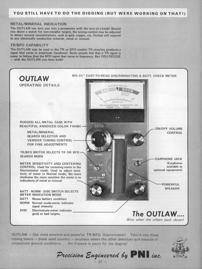 Bounty Hunter Outlaw Tr Bfo Discriminator This Simple Metal Detector Requires